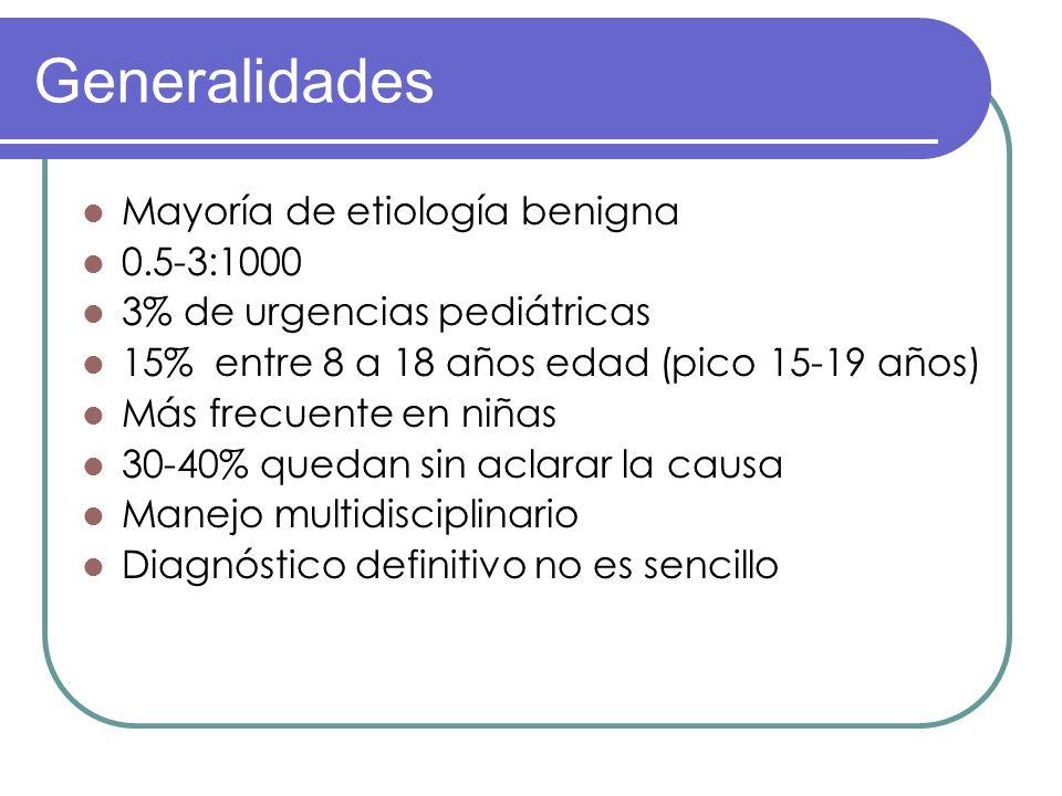 Generalidades Mayoría de etiología benigna 0.5-3:1000