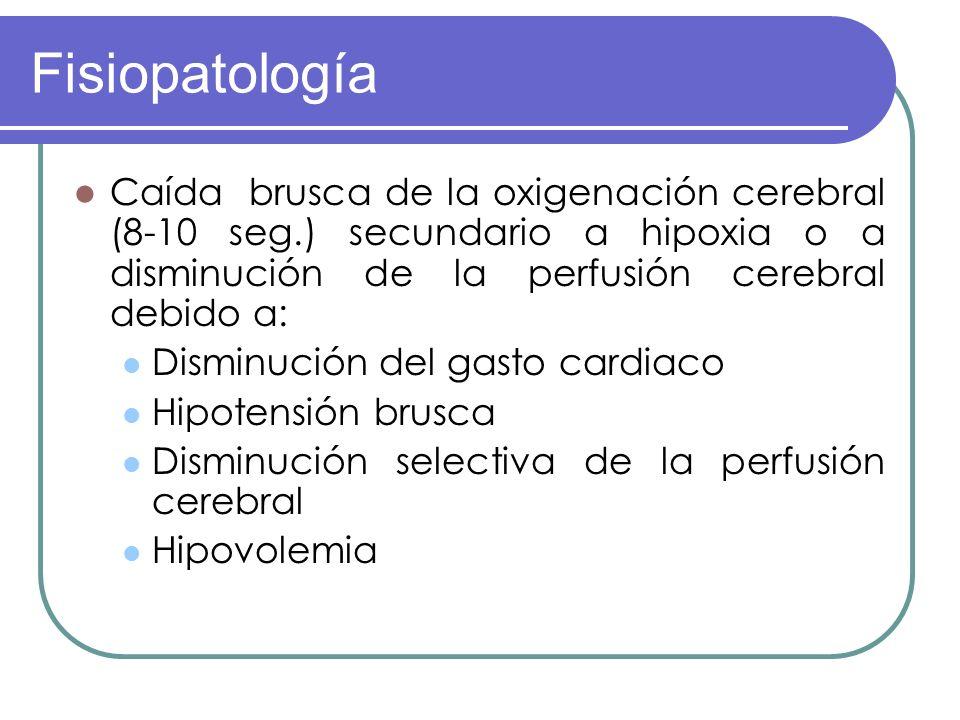 FisiopatologíaCaída brusca de la oxigenación cerebral (8-10 seg.) secundario a hipoxia o a disminución de la perfusión cerebral debido a: