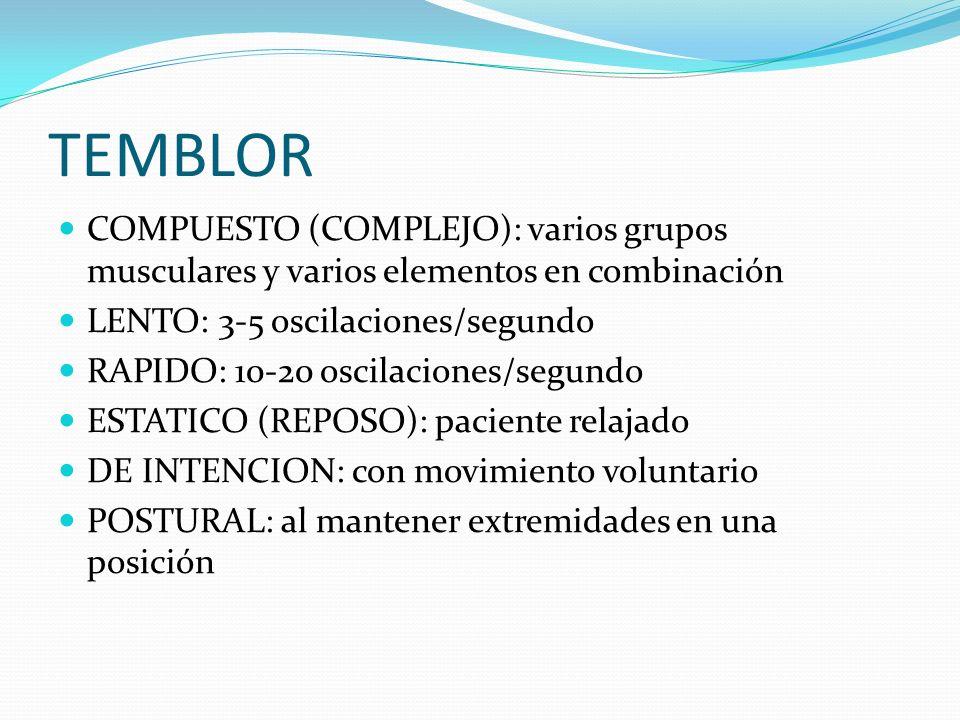 TEMBLOR COMPUESTO (COMPLEJO): varios grupos musculares y varios elementos en combinación. LENTO: 3-5 oscilaciones/segundo.
