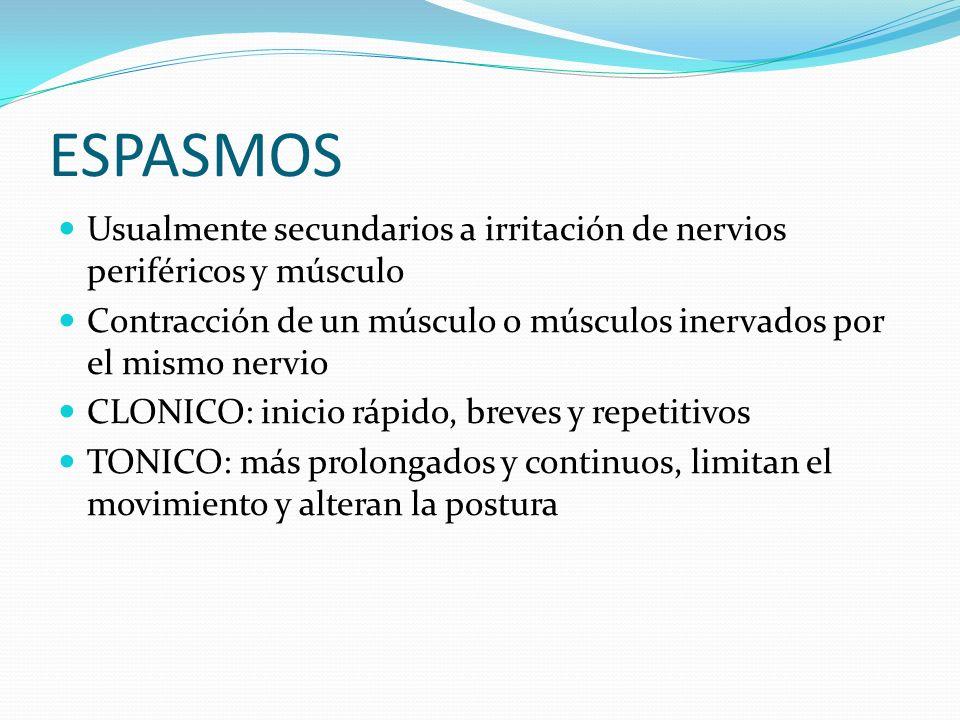 ESPASMOS Usualmente secundarios a irritación de nervios periféricos y músculo. Contracción de un músculo o músculos inervados por el mismo nervio.
