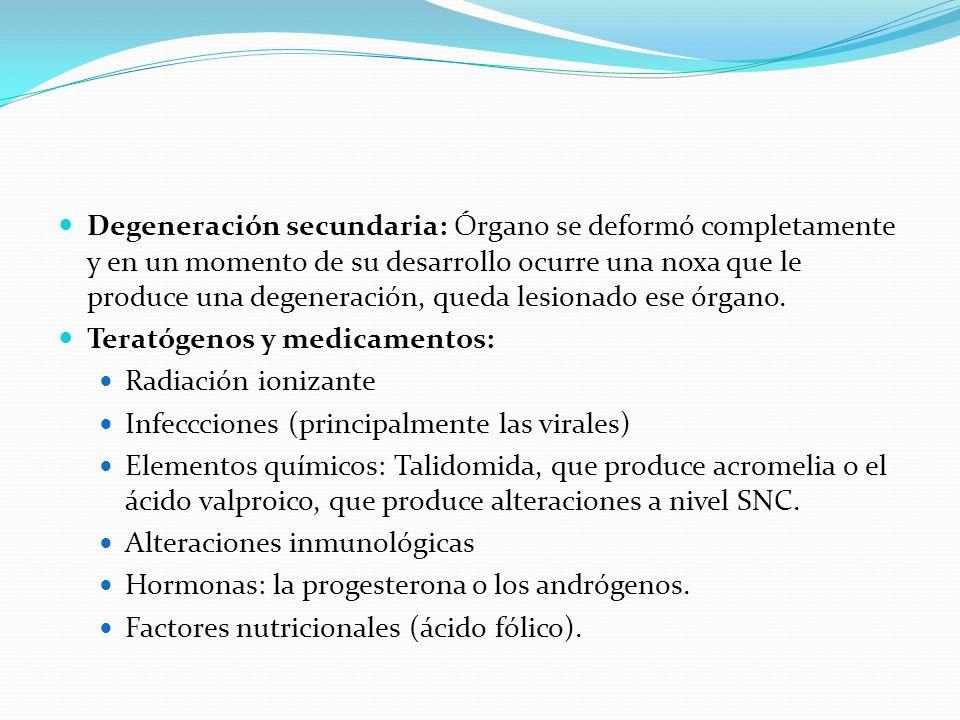 Degeneración secundaria: Órgano se deformó completamente y en un momento de su desarrollo ocurre una noxa que le produce una degeneración, queda lesionado ese órgano.