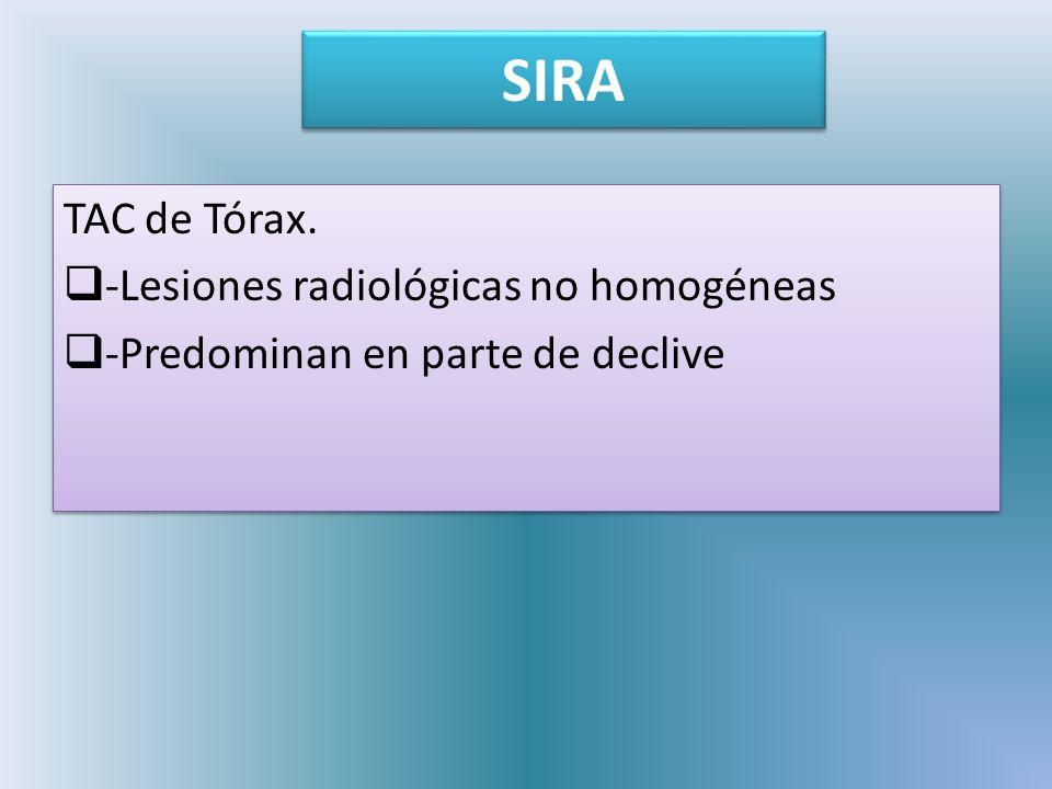 SIRA TAC de Tórax. -Lesiones radiológicas no homogéneas