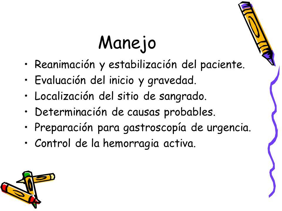 Manejo Reanimación y estabilización del paciente.