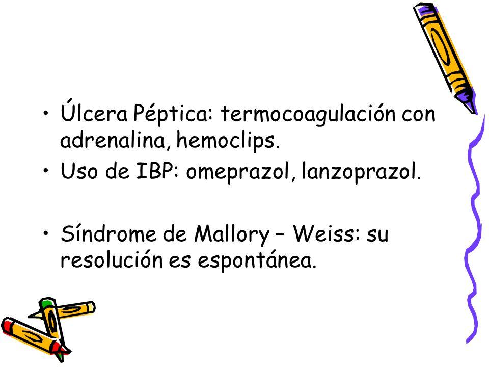 Úlcera Péptica: termocoagulación con adrenalina, hemoclips.
