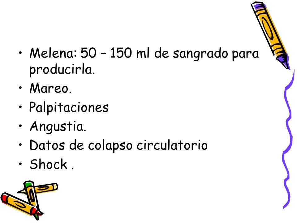Melena: 50 – 150 ml de sangrado para producirla.