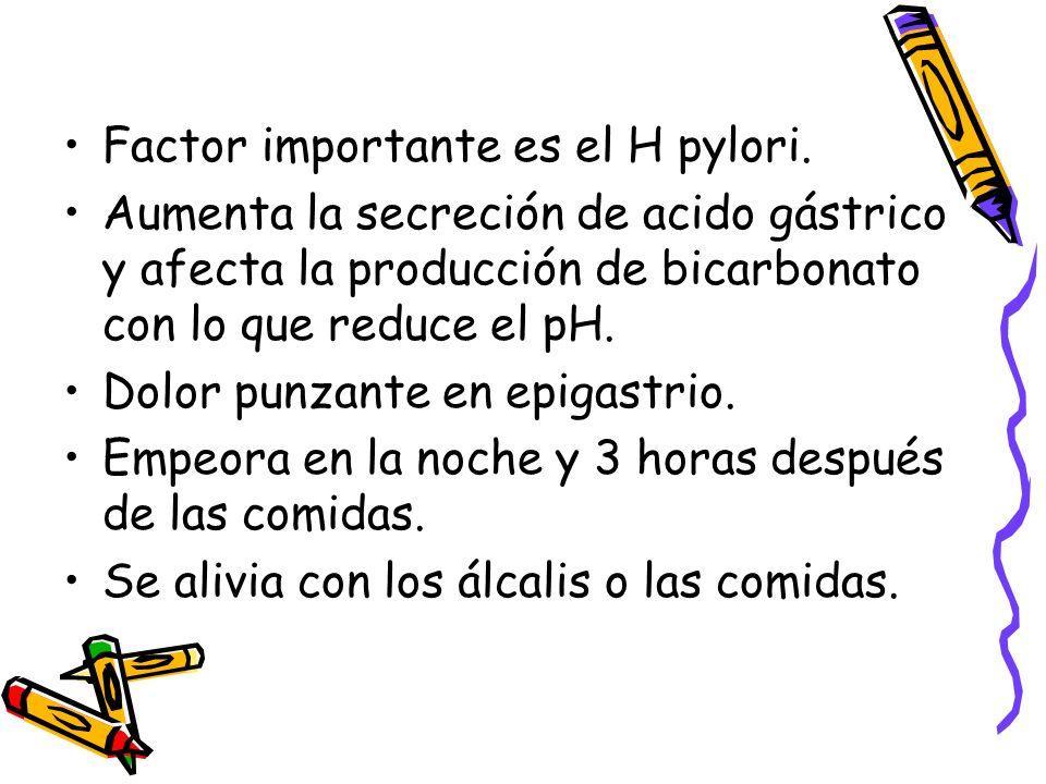 Factor importante es el H pylori.