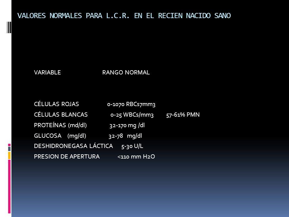 VALORES NORMALES PARA L.C.R. EN EL RECIEN NACIDO SANO