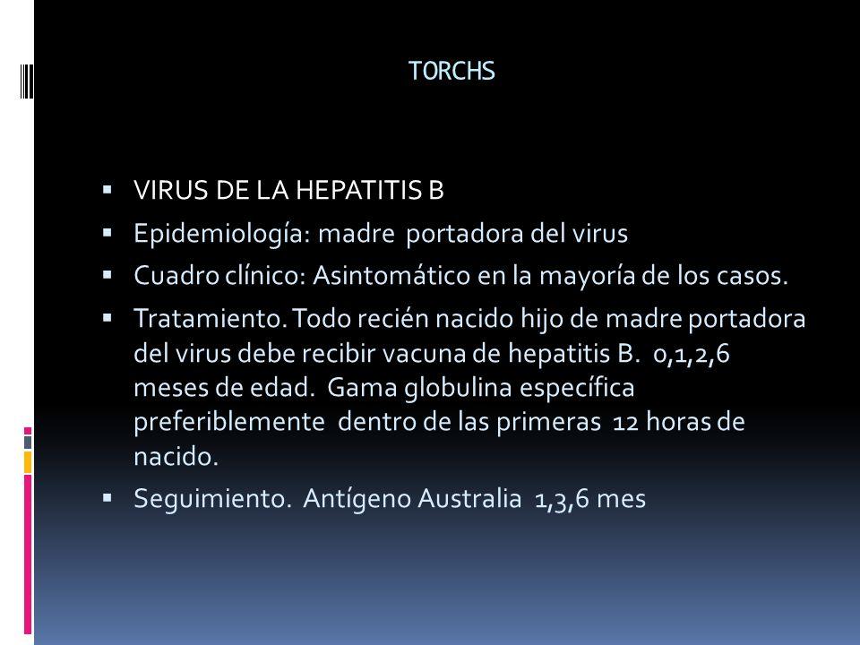 TORCHS VIRUS DE LA HEPATITIS B. Epidemiología: madre portadora del virus. Cuadro clínico: Asintomático en la mayoría de los casos.