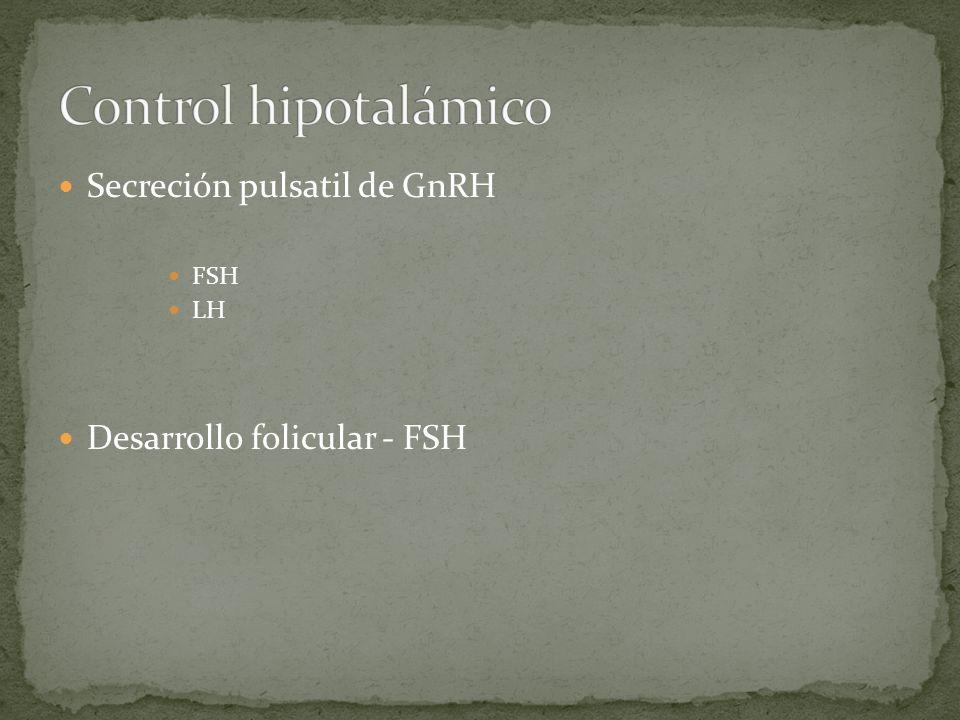 Control hipotalámico Secreción pulsatil de GnRH