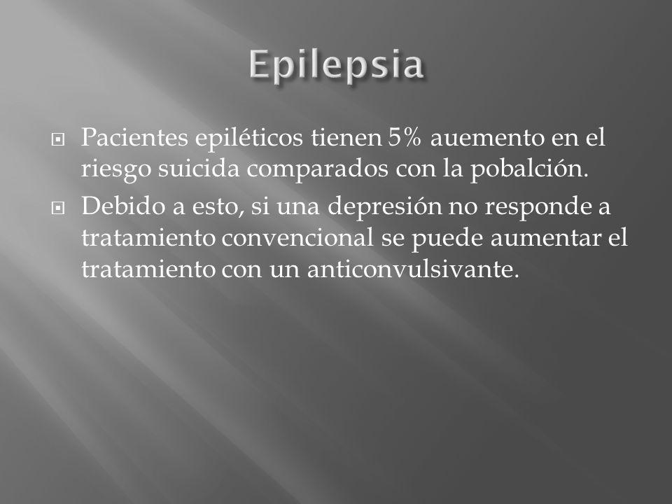 Epilepsia Pacientes epiléticos tienen 5% auemento en el riesgo suicida comparados con la pobalción.