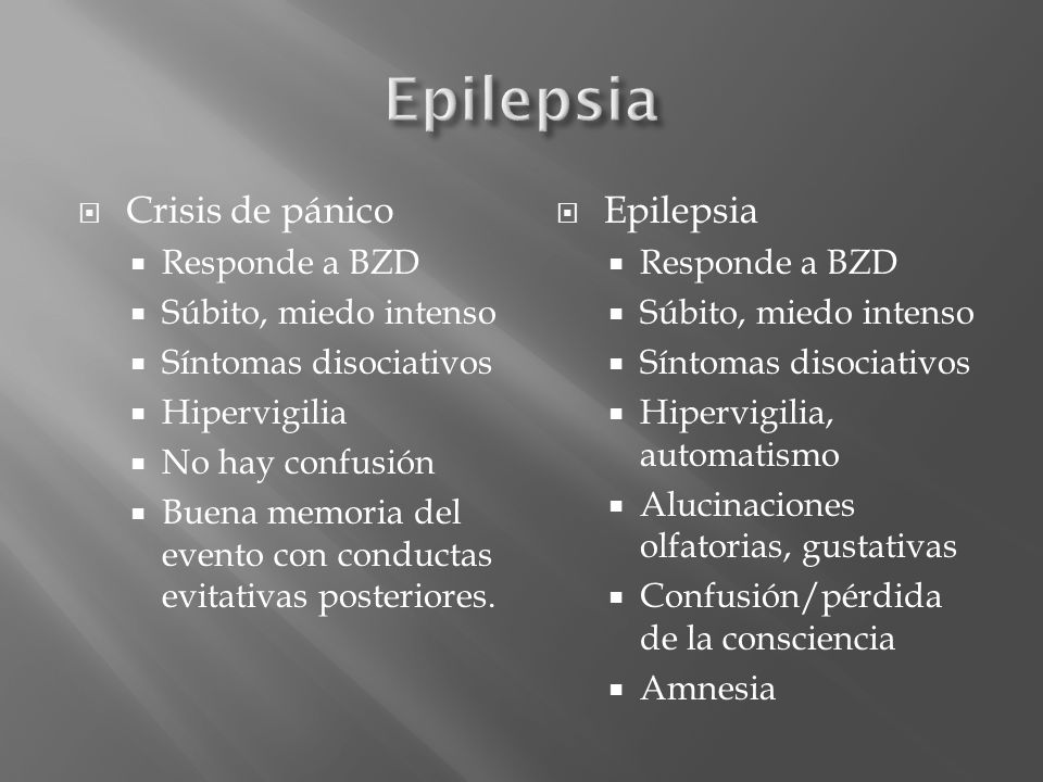 Epilepsia Crisis de pánico Epilepsia Responde a BZD