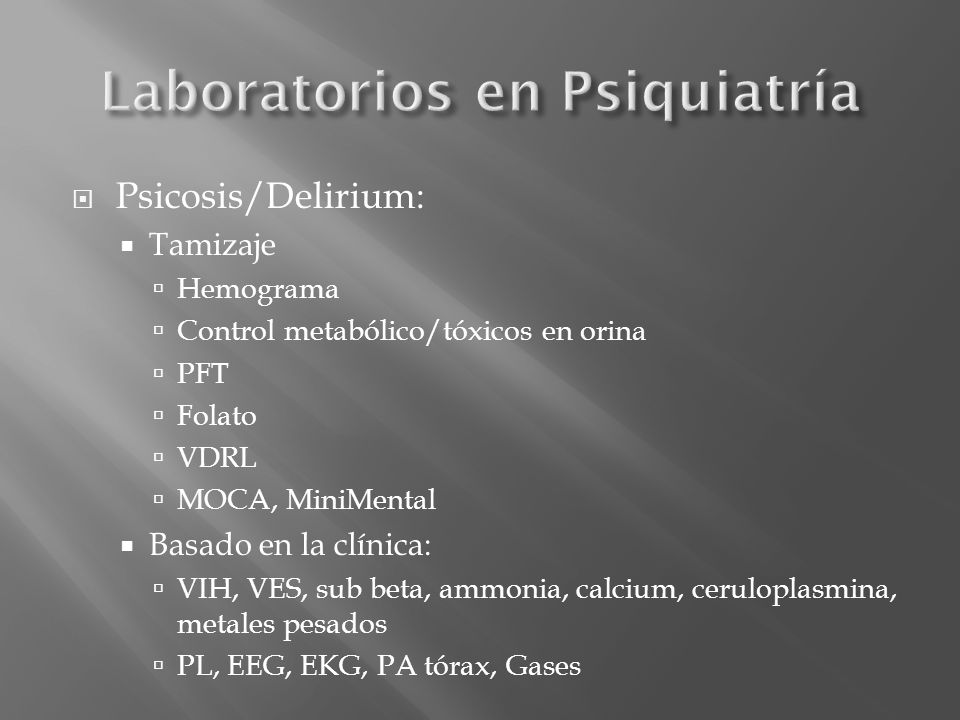 Laboratorios en Psiquiatría