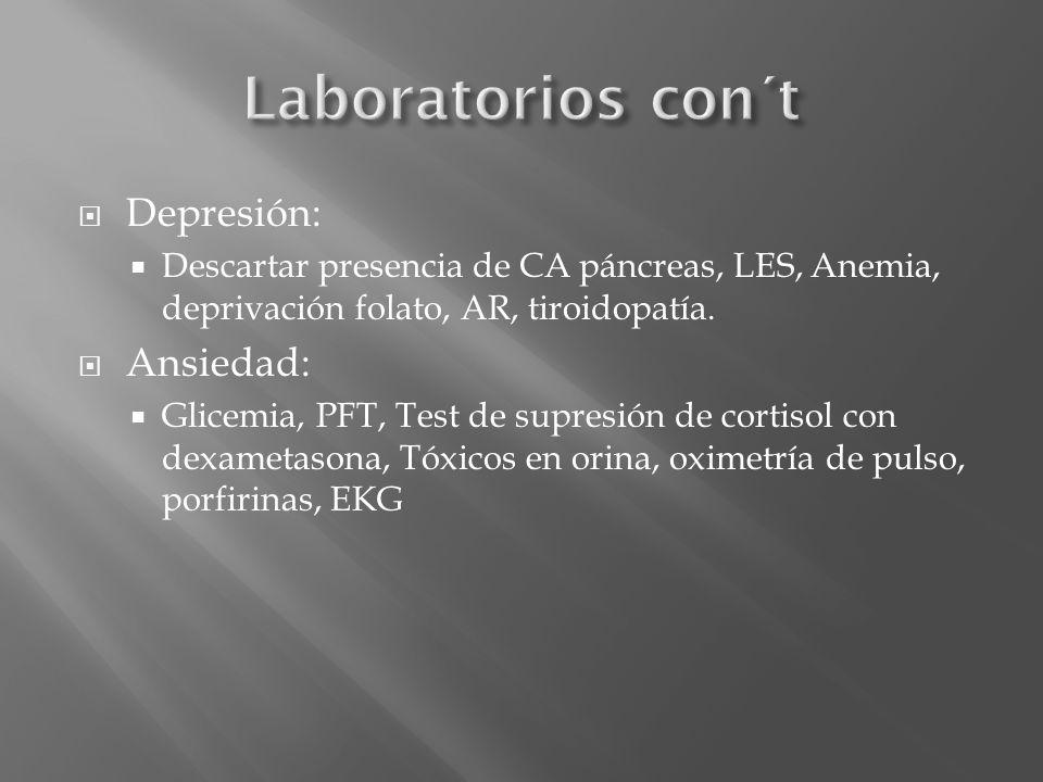 Laboratorios con´t Depresión: Ansiedad: