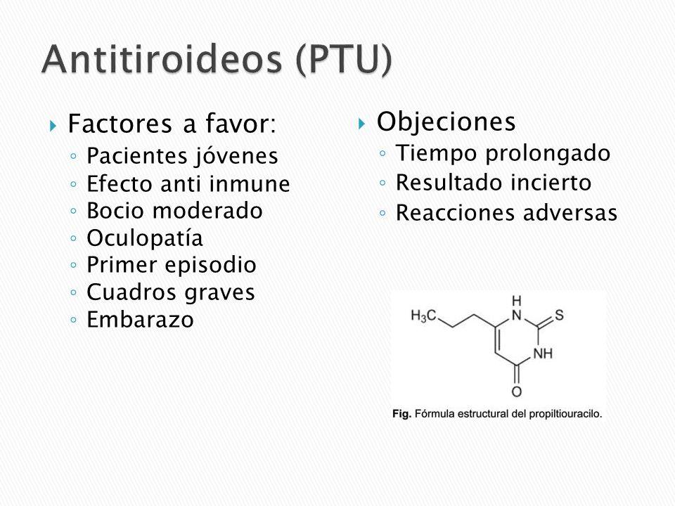 Antitiroideos (PTU) Factores a favor: Objeciones Pacientes jóvenes