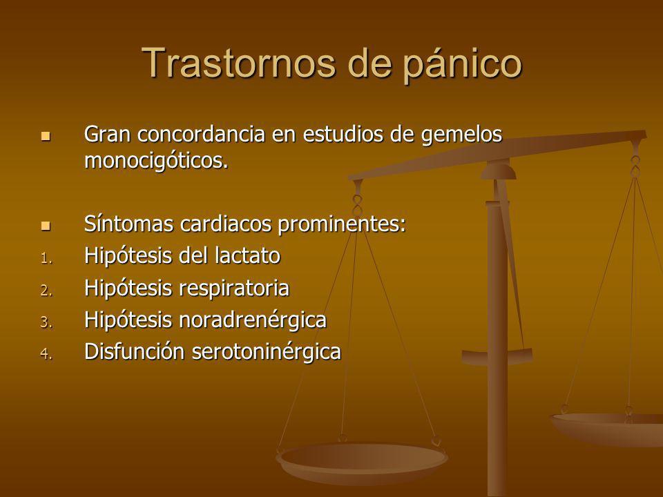 Trastornos de pánico Gran concordancia en estudios de gemelos monocigóticos. Síntomas cardiacos prominentes: