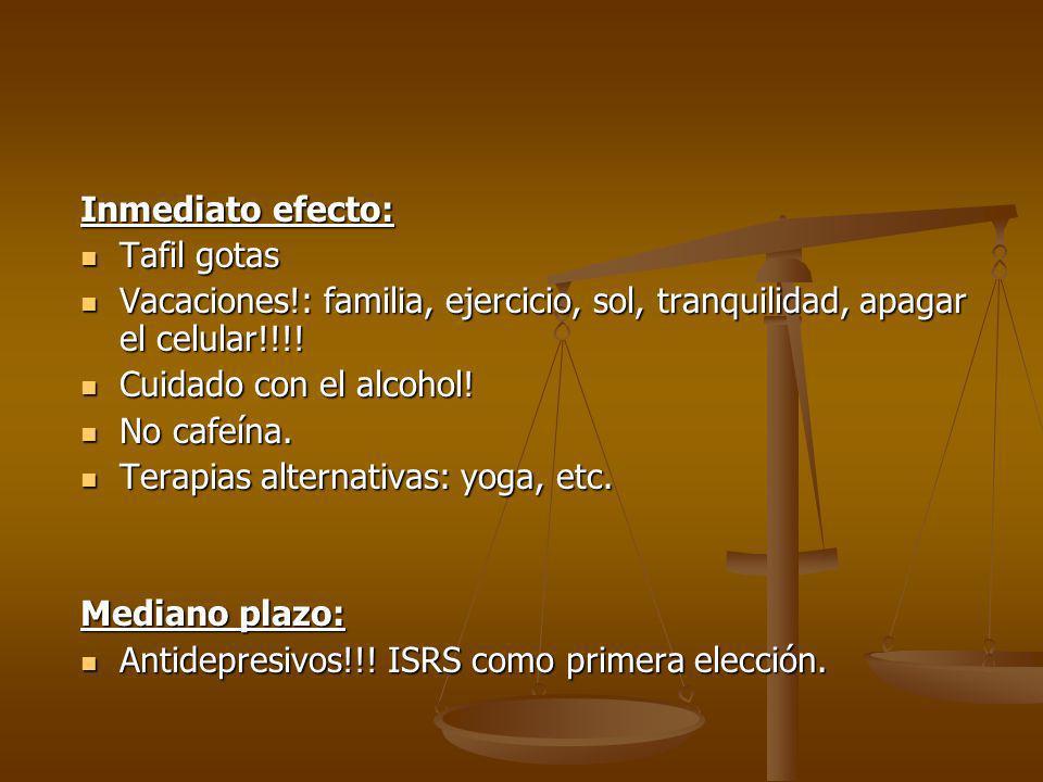 Inmediato efecto: Tafil gotas. Vacaciones!: familia, ejercicio, sol, tranquilidad, apagar el celular!!!!