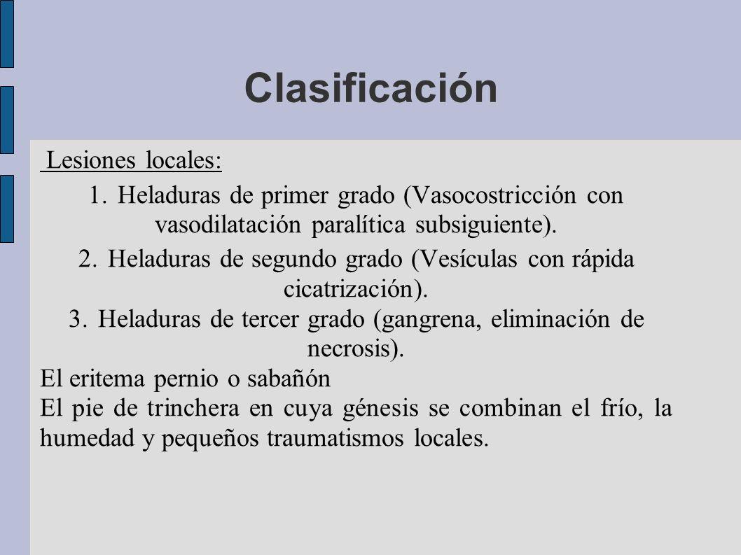 Clasificación Lesiones locales: