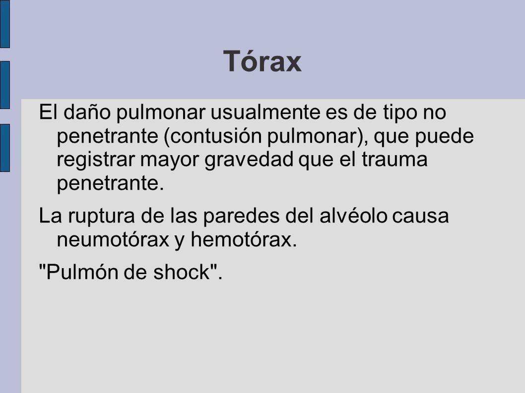 Tórax El daño pulmonar usualmente es de tipo no penetrante (contusión pulmonar), que puede registrar mayor gravedad que el trauma penetrante.