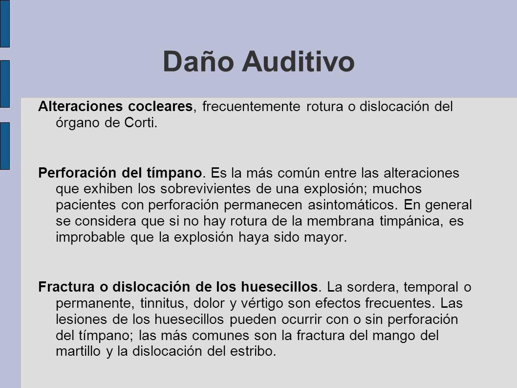 Daño Auditivo Alteraciones cocleares, frecuentemente rotura o dislocación del órgano de Corti.