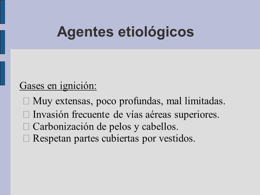 Agentes etiológicos Gases en ignición: