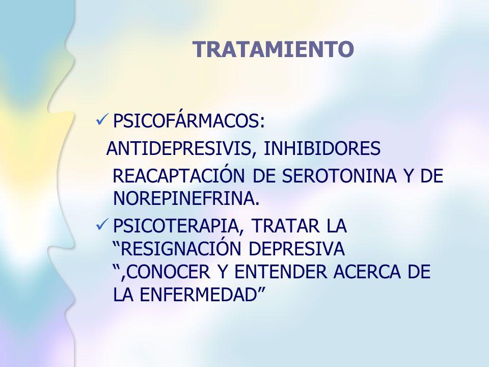 TRATAMIENTO PSICOFÁRMACOS: ANTIDEPRESIVIS, INHIBIDORES