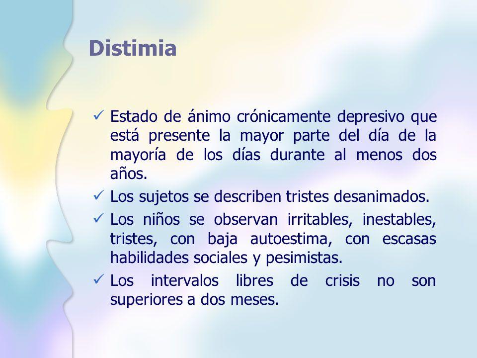 Distimia Estado de ánimo crónicamente depresivo que está presente la mayor parte del día de la mayoría de los días durante al menos dos años.