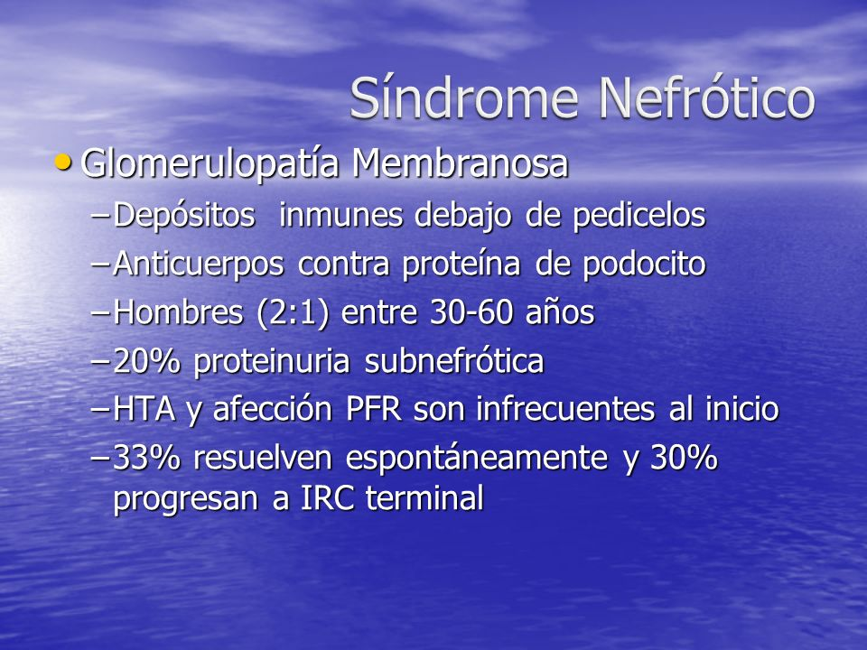 Síndrome Nefrótico Glomerulopatía Membranosa