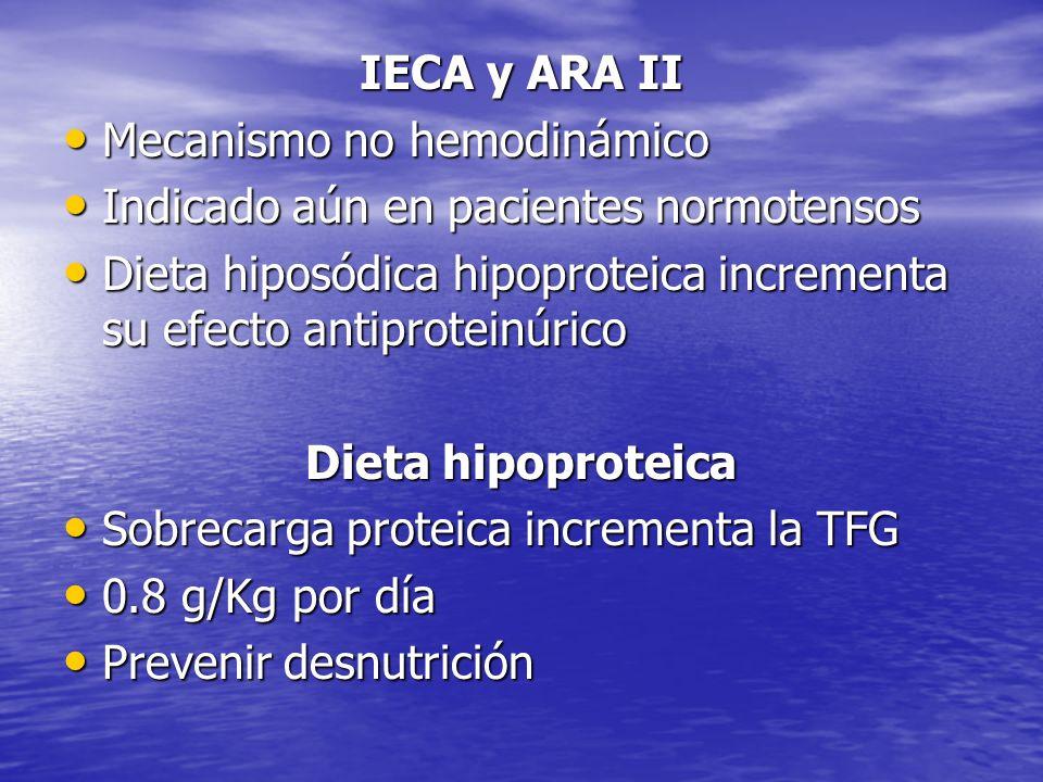 IECA y ARA II Mecanismo no hemodinámico. Indicado aún en pacientes normotensos. Dieta hiposódica hipoproteica incrementa su efecto antiproteinúrico.