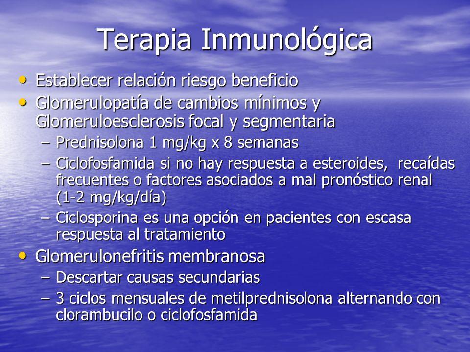 Terapia Inmunológica Establecer relación riesgo beneficio