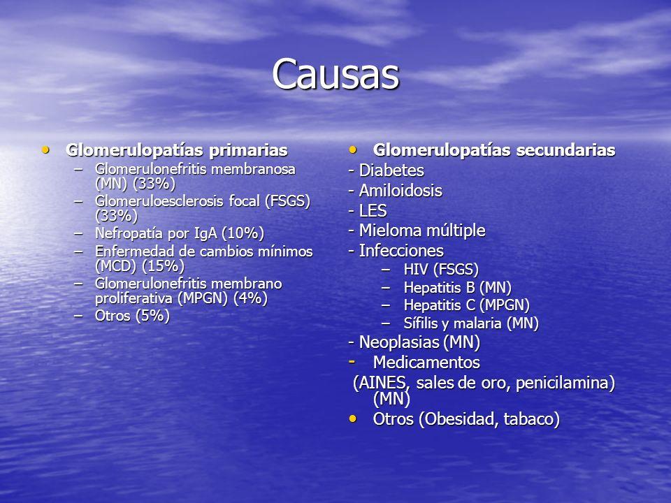 Causas Glomerulopatías primarias Glomerulopatías secundarias