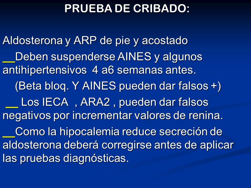 PRUEBA DE CRIBADO:Aldosterona y ARP de pie y acostado. __Deben suspenderse AINES y algunos antihipertensivos 4 a6 semanas antes.
