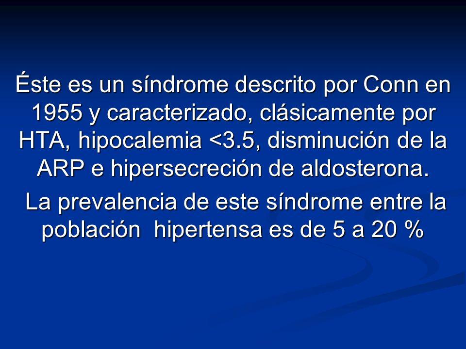 Éste es un síndrome descrito por Conn en 1955 y caracterizado, clásicamente por HTA, hipocalemia <3.5, disminución de la ARP e hipersecreción de aldosterona.