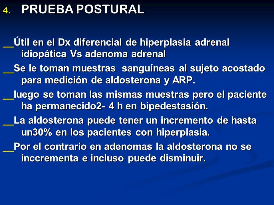 PRUEBA POSTURAL __Útil en el Dx diferencial de hiperplasia adrenal idiopática Vs adenoma adrenal.