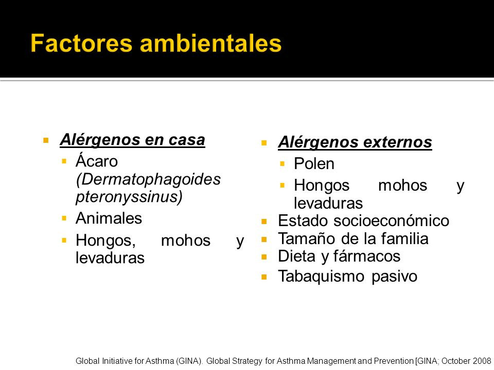 Factores ambientales Alérgenos en casa Alérgenos externos