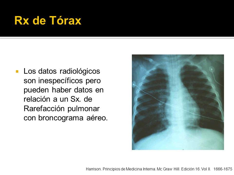 Rx de TóraxLos datos radiológicos son inespecíficos pero pueden haber datos en relación a un Sx. de Rarefacción pulmonar con broncograma aéreo.