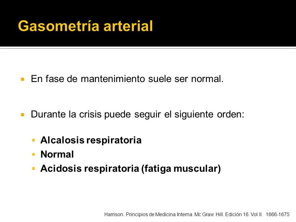 Gasometría arterial En fase de mantenimiento suele ser normal.