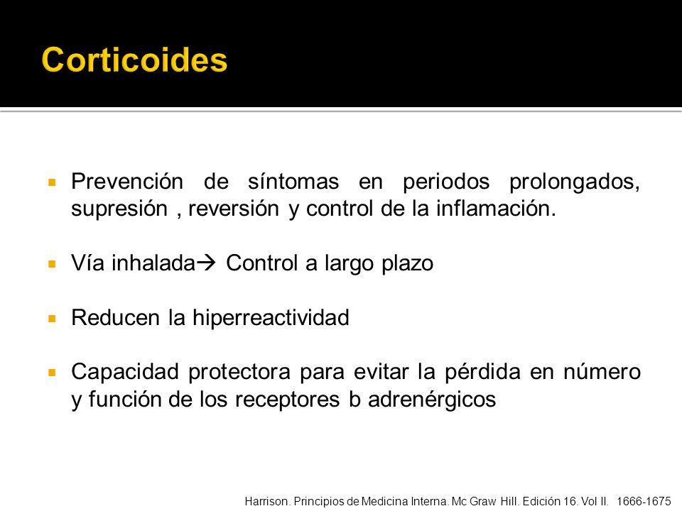 Corticoides Prevención de síntomas en periodos prolongados, supresión , reversión y control de la inflamación.