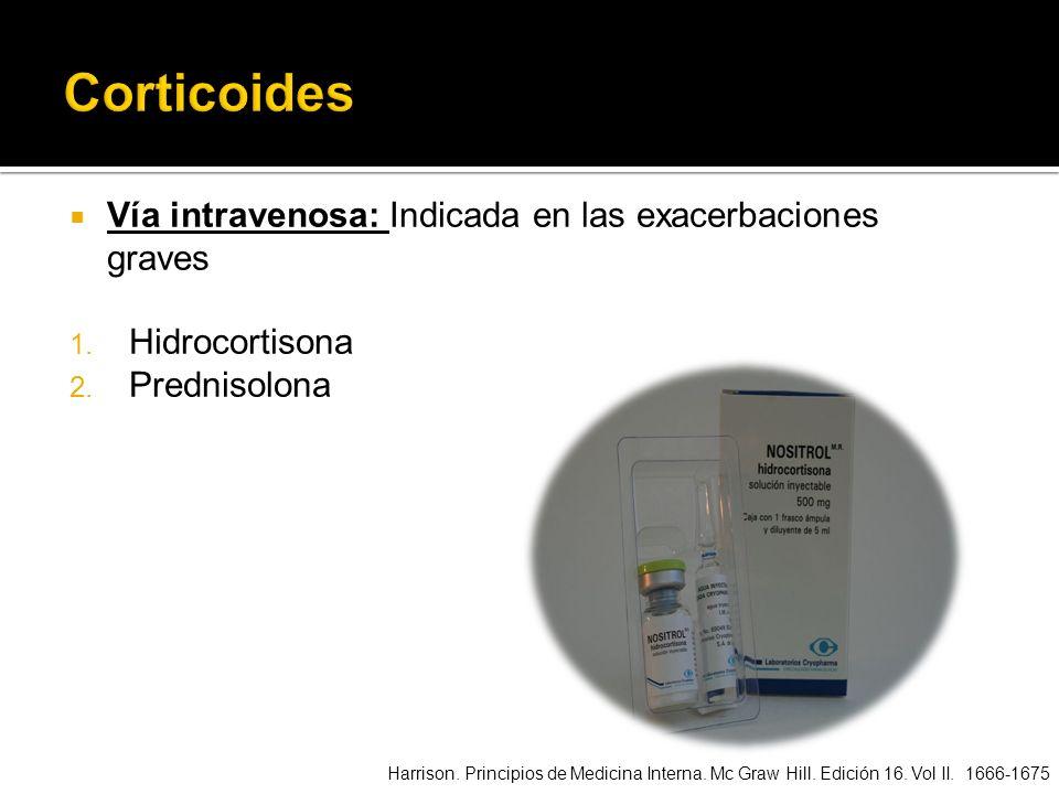 Corticoides Vía intravenosa: Indicada en las exacerbaciones graves