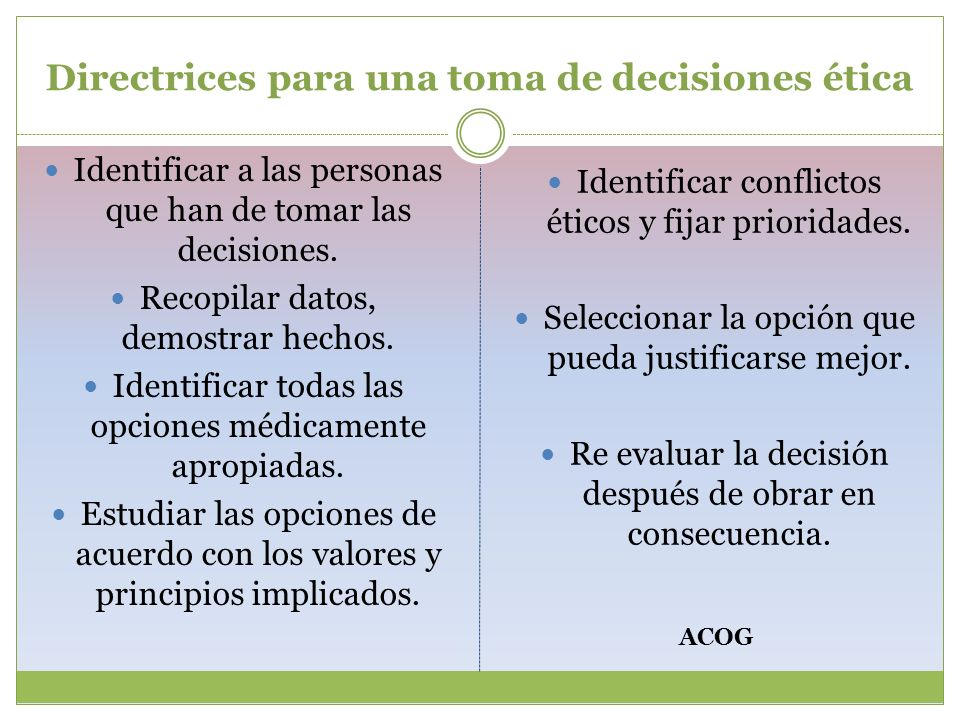 Directrices para una toma de decisiones ética