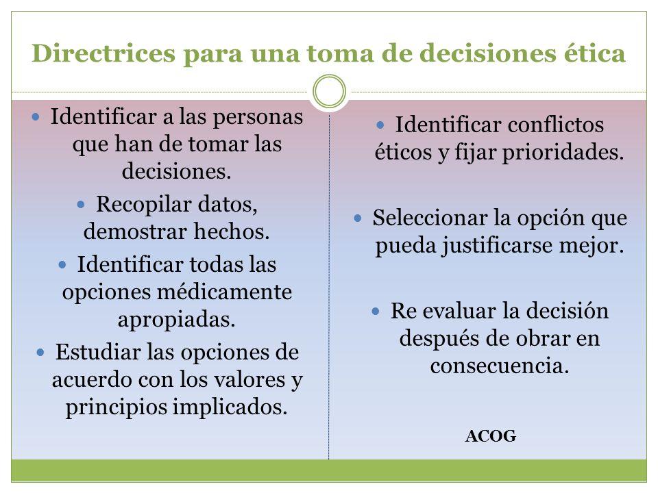 Directrices para una toma de decisiones ética