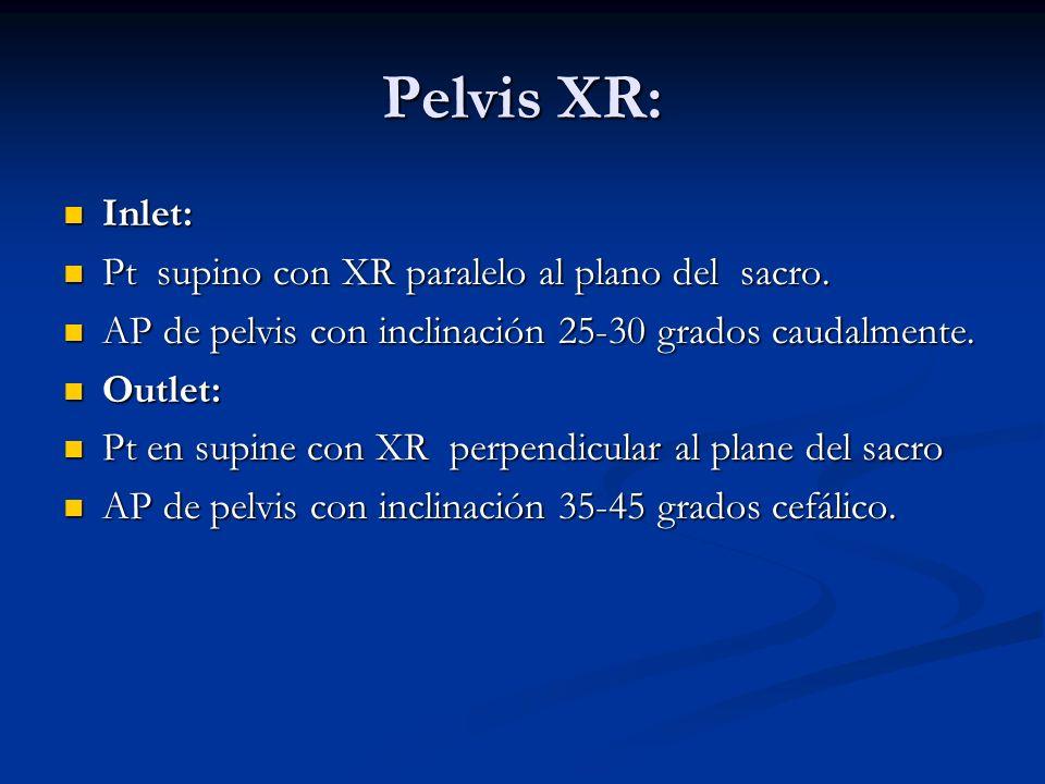 Pelvis XR: Inlet: Pt supino con XR paralelo al plano del sacro.