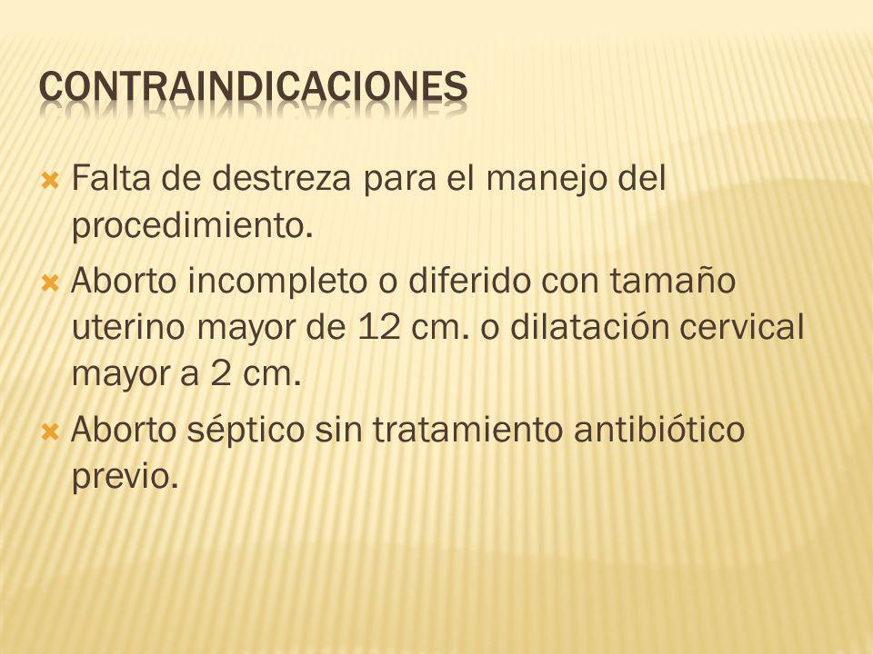 CONTRAINDICACIONES Falta de destreza para el manejo del procedimiento.
