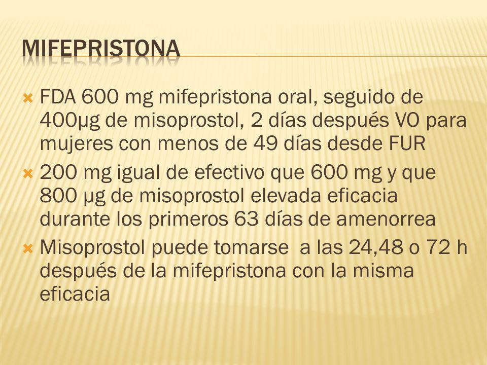 mifepristona FDA 600 mg mifepristona oral, seguido de 400µg de misoprostol, 2 días después VO para mujeres con menos de 49 días desde FUR.