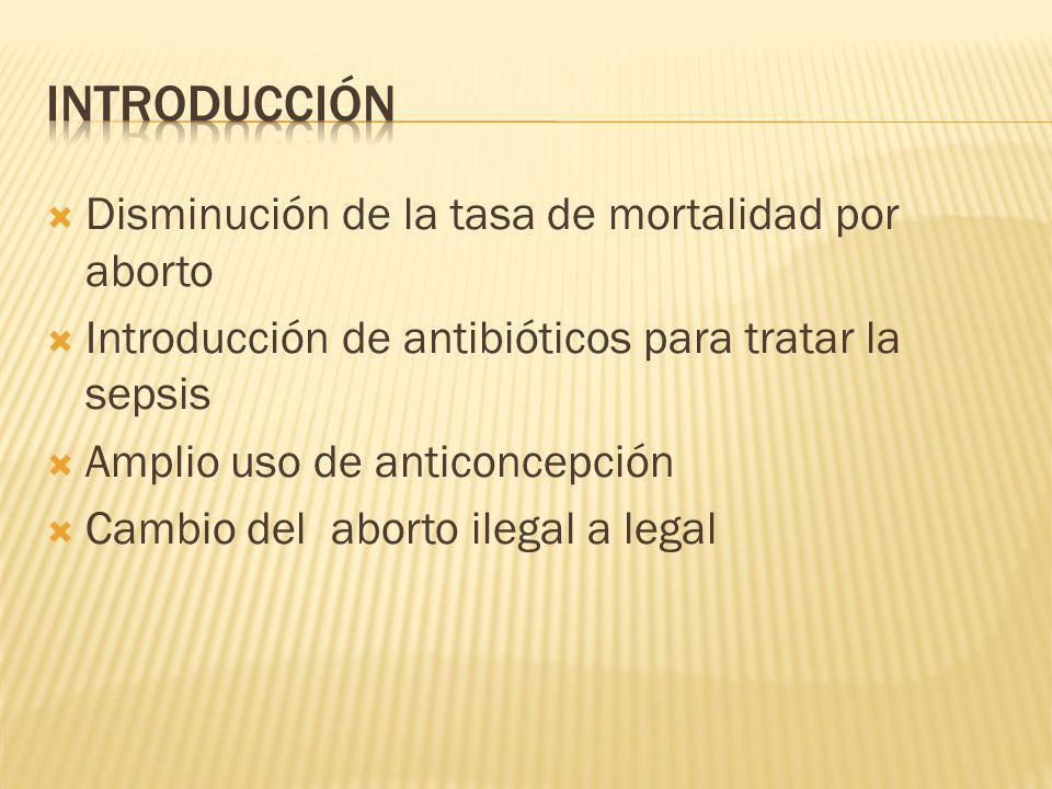 introducción Disminución de la tasa de mortalidad por aborto