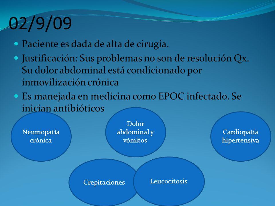 02/9/09 Paciente es dada de alta de cirugía.