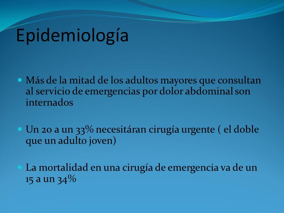 Epidemiología Más de la mitad de los adultos mayores que consultan al servicio de emergencias por dolor abdominal son internados.