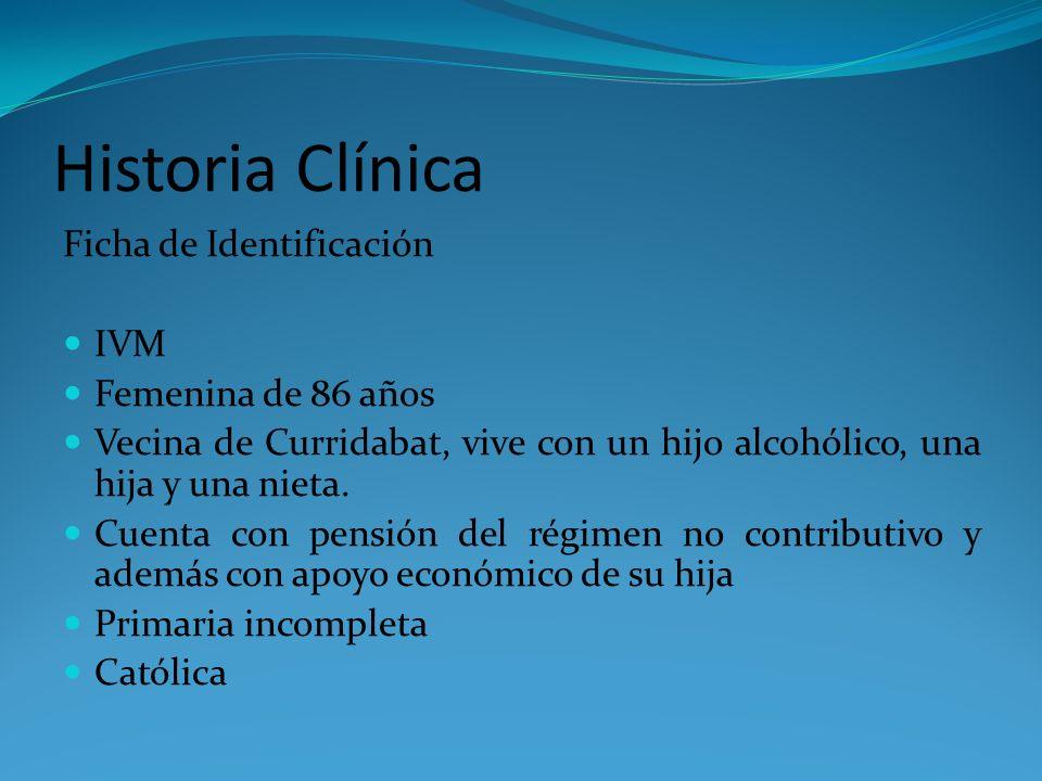 Historia Clínica Ficha de Identificación IVM Femenina de 86 años