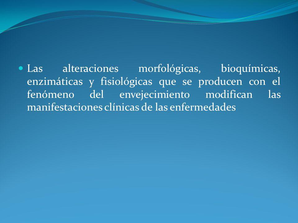 Las alteraciones morfológicas, bioquímicas, enzimáticas y fisiológicas que se producen con el fenómeno del envejecimiento modifican las manifestaciones clínicas de las enfermedades