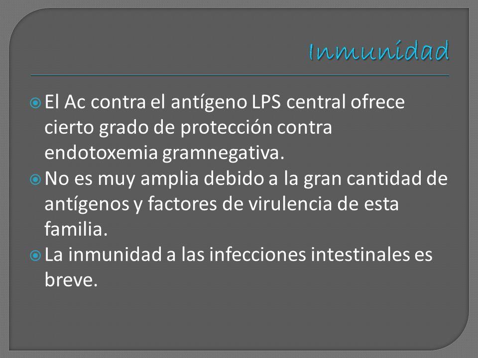 Inmunidad El Ac contra el antígeno LPS central ofrece cierto grado de protección contra endotoxemia gramnegativa.