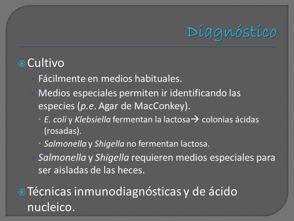 Diagnóstico Cultivo Técnicas inmunodiagnósticas y de ácido nucleico.